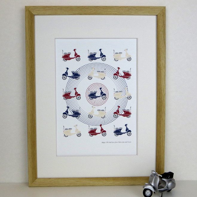 Bright Scooter Print - Red Cream and Blue - framed