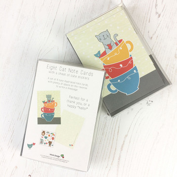 Cat in a Teacup - set of 8 Notecards by Wink Design