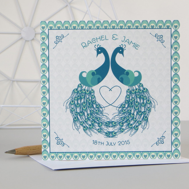 Personalised Art Deco Inspired Peacock Wedding Anniversary Engagement Card