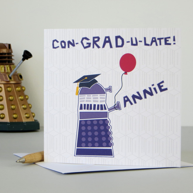 Personalised Dr Who Dalek Graduation Card