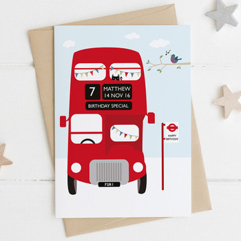 Personalised Red London Bus Birthday Card