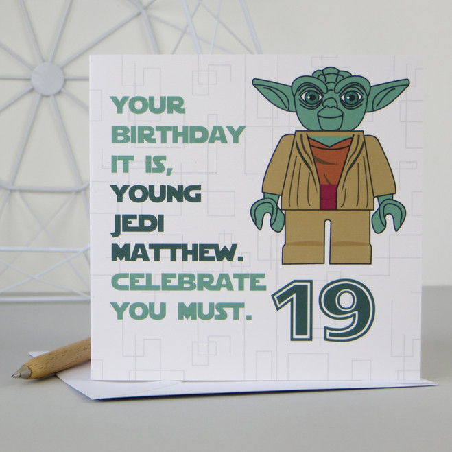 Personalised Star Wars Yoda Birthday Card