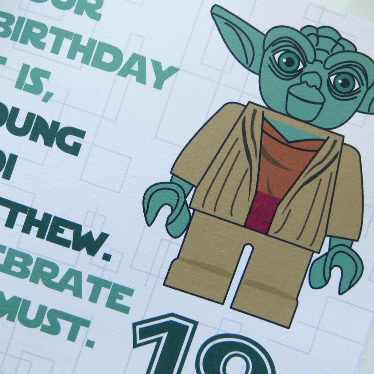 Personalised Star Wars Yoda Birthday Card