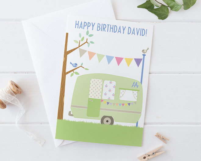 Personalised vintage caravan 30th 40th 50th 60th birthday card vintage caravan card by wink design 40th 50th 60th 70th birthday bookmarktalkfo Images