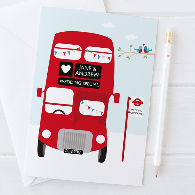 Personalised Red London Bus Wedding Card