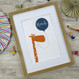 Personalised Fun Giraffe Name Print For Children - blue - framed