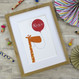 Personalised Fun Giraffe Name Print For Children - red - framed