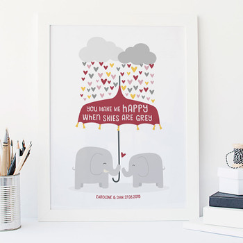 'You Make Me Happy' Personalised Elephant Love Print