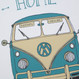 'Home Is Where You Park It' Camper Van Print - split screen blue - detail
