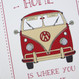 'Home Is Where You Park It' Camper Van Print - split screen red - detail