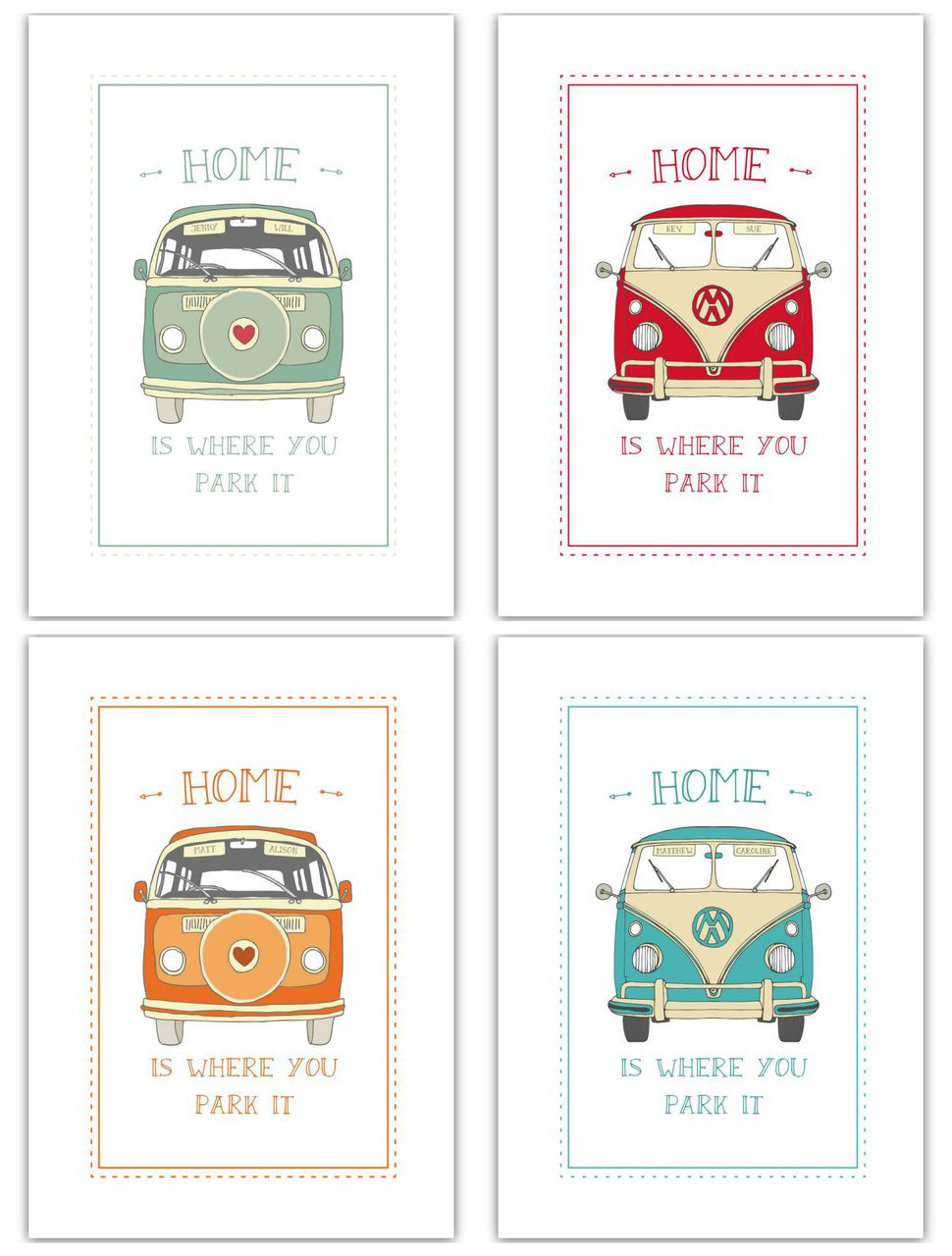 Home Is Where You Park It Camper Van Print