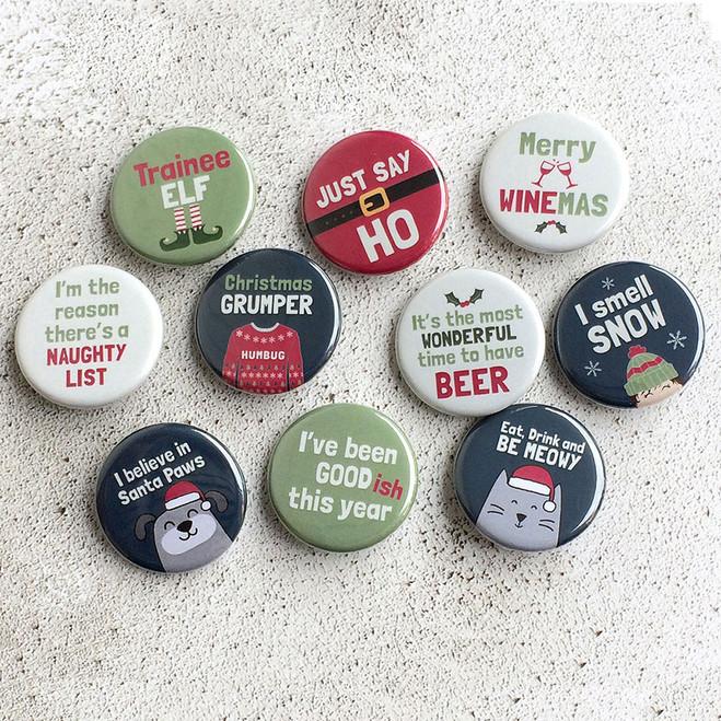 Fun Christmas Pin Badge Collection - set of 10