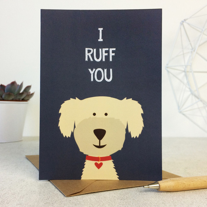 Wink Design - Animal Pun Card - I Ruff You - Valentines Card