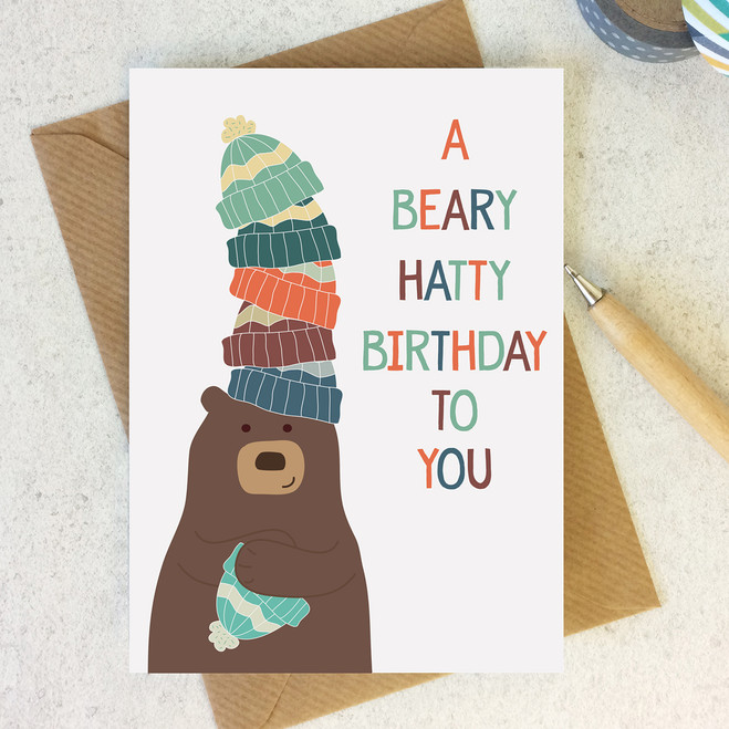 A beary hatty birthday funny birthday card wink design animal pun card a beary hatty birthday birthday card bookmarktalkfo Images