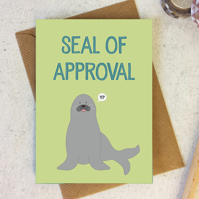 Seal of Approval - Congratulations Card - Well Done Card - Wink Design