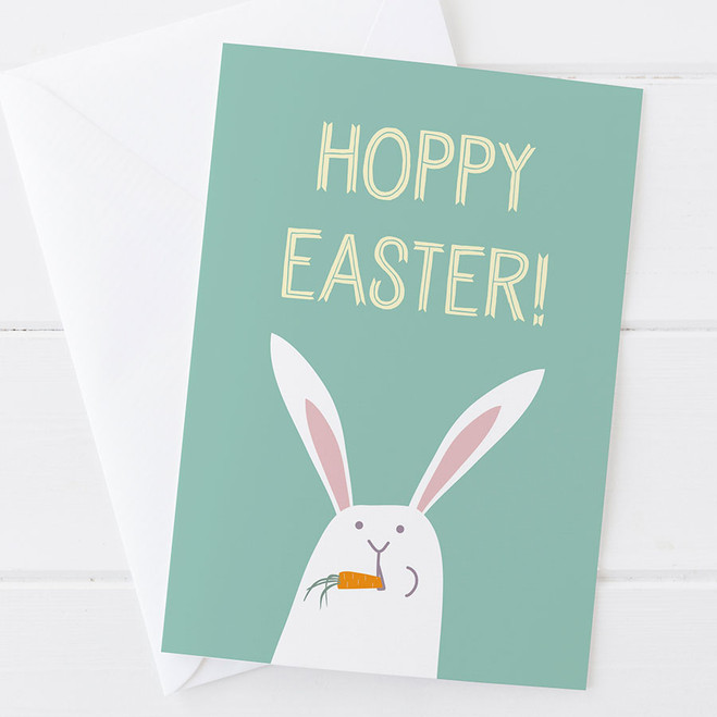 Hoppy Easter Funny Easter Rabbit Card by Wink Design