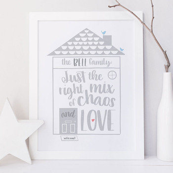 Personalised Family House Print 'Just The Right Mix of Chaos and Love'