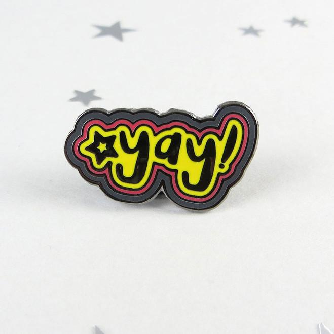 Yay Enamel Pin Badge by Wink Design