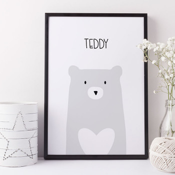 Grey Bear Minimalist Children's Print by Wink Design