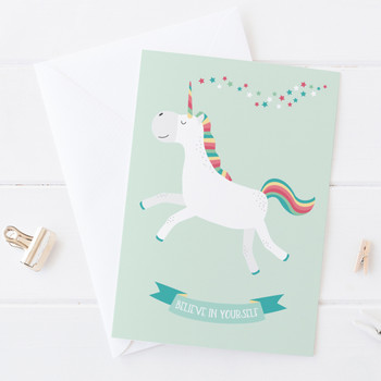 Wink Design Believe in Yourself Unicorn Motivational Card