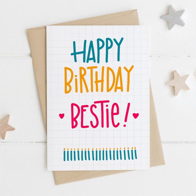 Wink Design Happy Birthday Bestie Best Friend Card