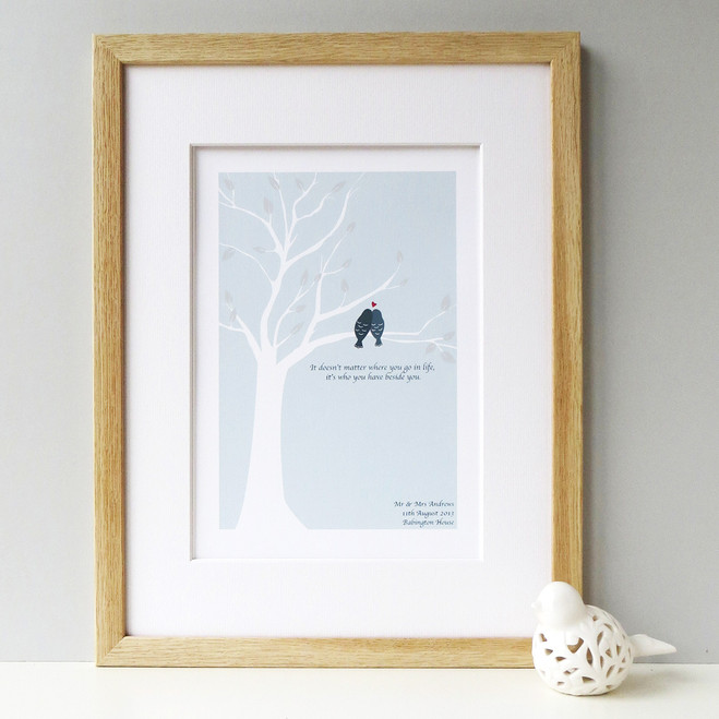 Love Birds Print - Pale Blue - Oak Framed