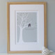 Love Birds Print - Eau-De-Nil - oak framed