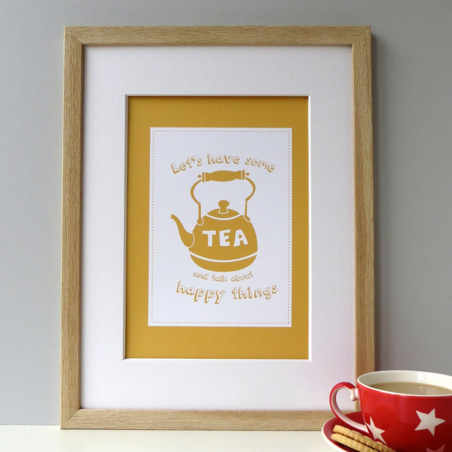'Let's have some tea and talk about happy things' Yellow Tea Print - Framed