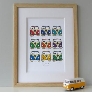 Camper Van Retro Print - Framed