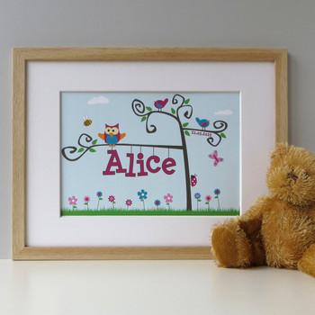 Personalised Baby Name Tree Print - Pink - Oak Framed