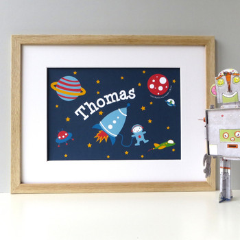 Personalised Boy's Name Spaceman Print
