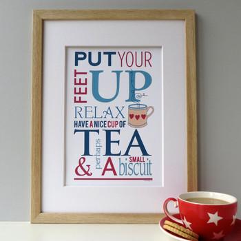 Tea and Biscuit Print - Oak Framed