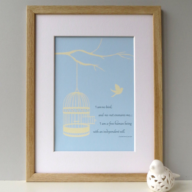 Jayne Eyre Quote Print - Oak Framed