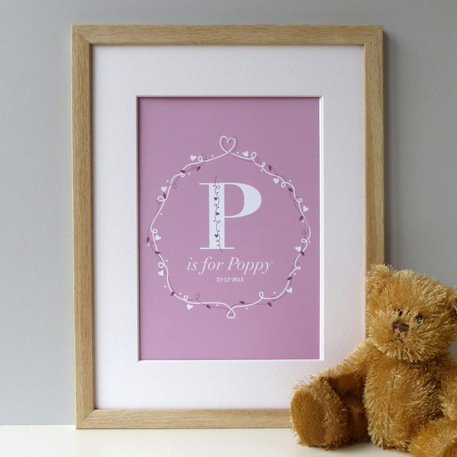 New Baby Girl Print - Oak Framed