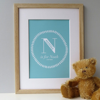 New Baby Boy Print - Oak Framed