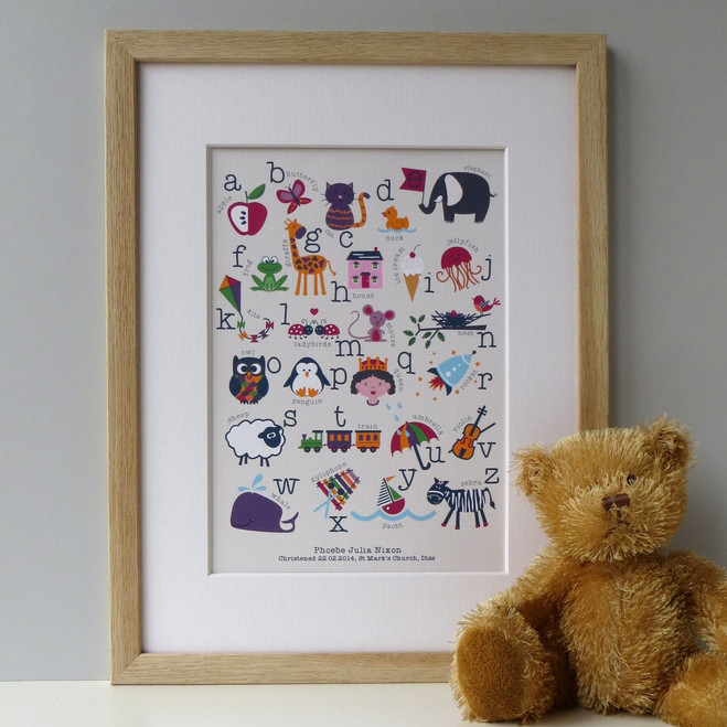 Personalised Children's Alphabet Print - Oak Framed - two lines of personalisation