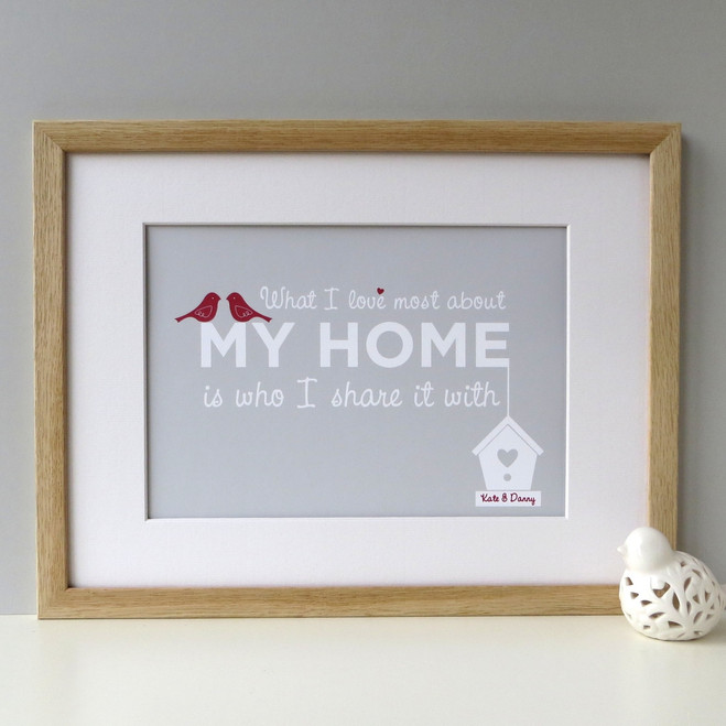 'What I Love Most About My Home' Personalised Print - Pale Grey with Red Accents