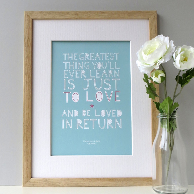 Personalised 'Love And Be Loved In Return' Print - blue - framed