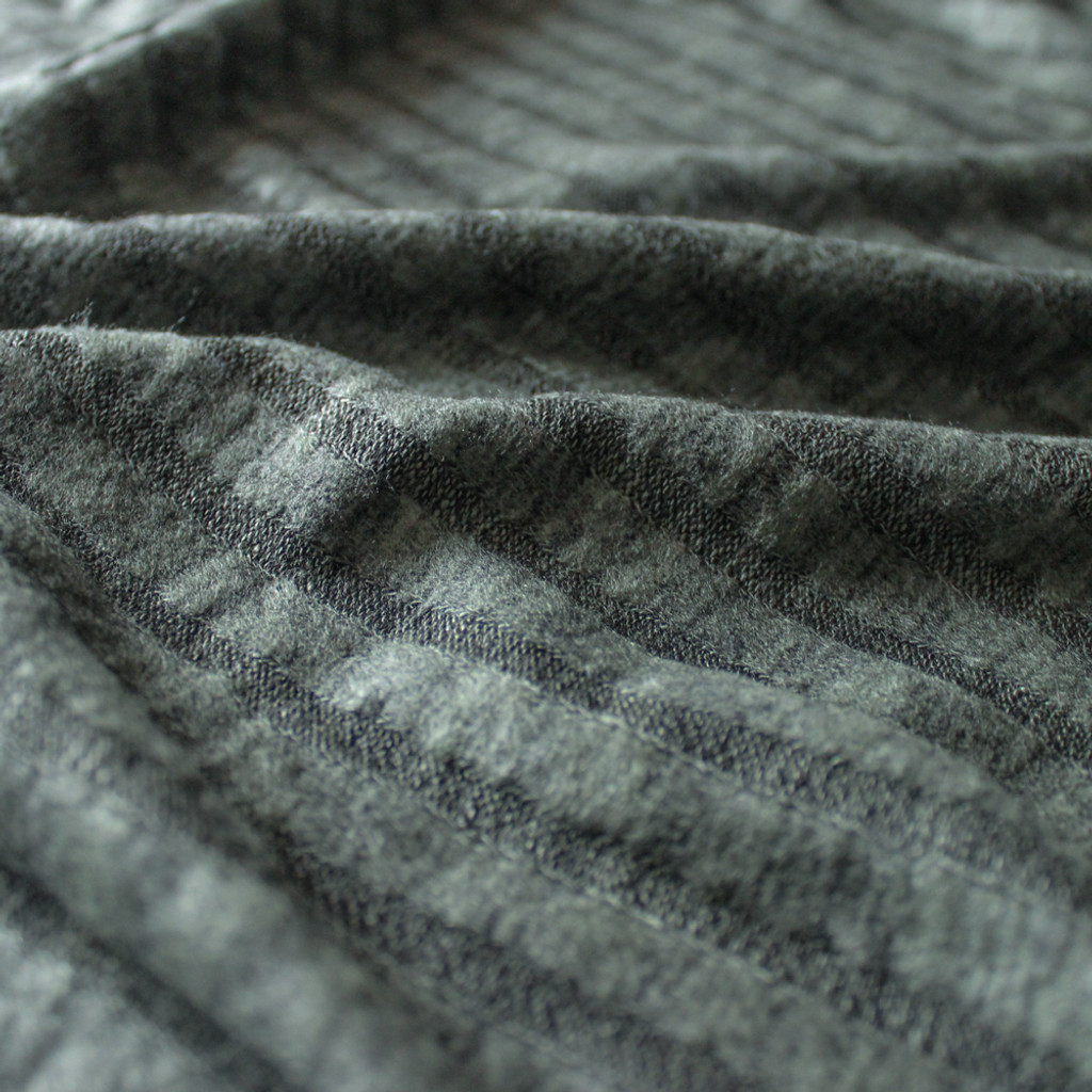 Brushed Ribbed Sweater Knit - Heathered Olive | Blackbird Fabrics