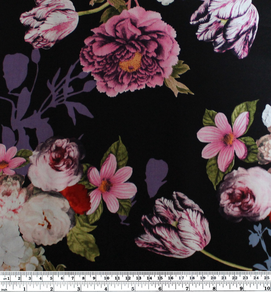 Bouquet Floral Viscose Poplin - Black/Pink  | Blackbird Fabrics