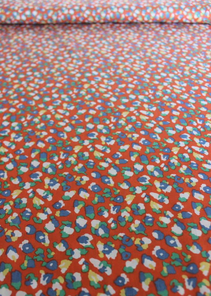 Cheetah Print Rayon Challis - Orange/Multicolour   Blackbird Fabrics
