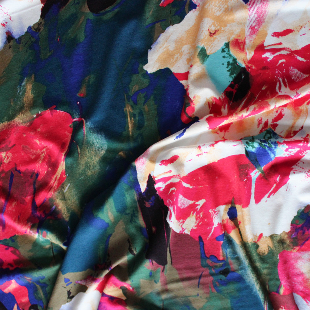 Painted Abstract Rayon Jersey - Multicolour | Blackbird Fabrics