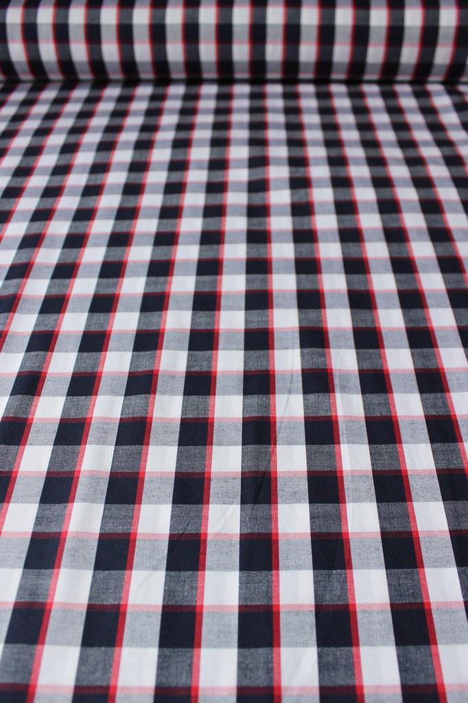 Plaid Japanese Cotton Shirting - Navy/White/Red | Blackbird Fabrics