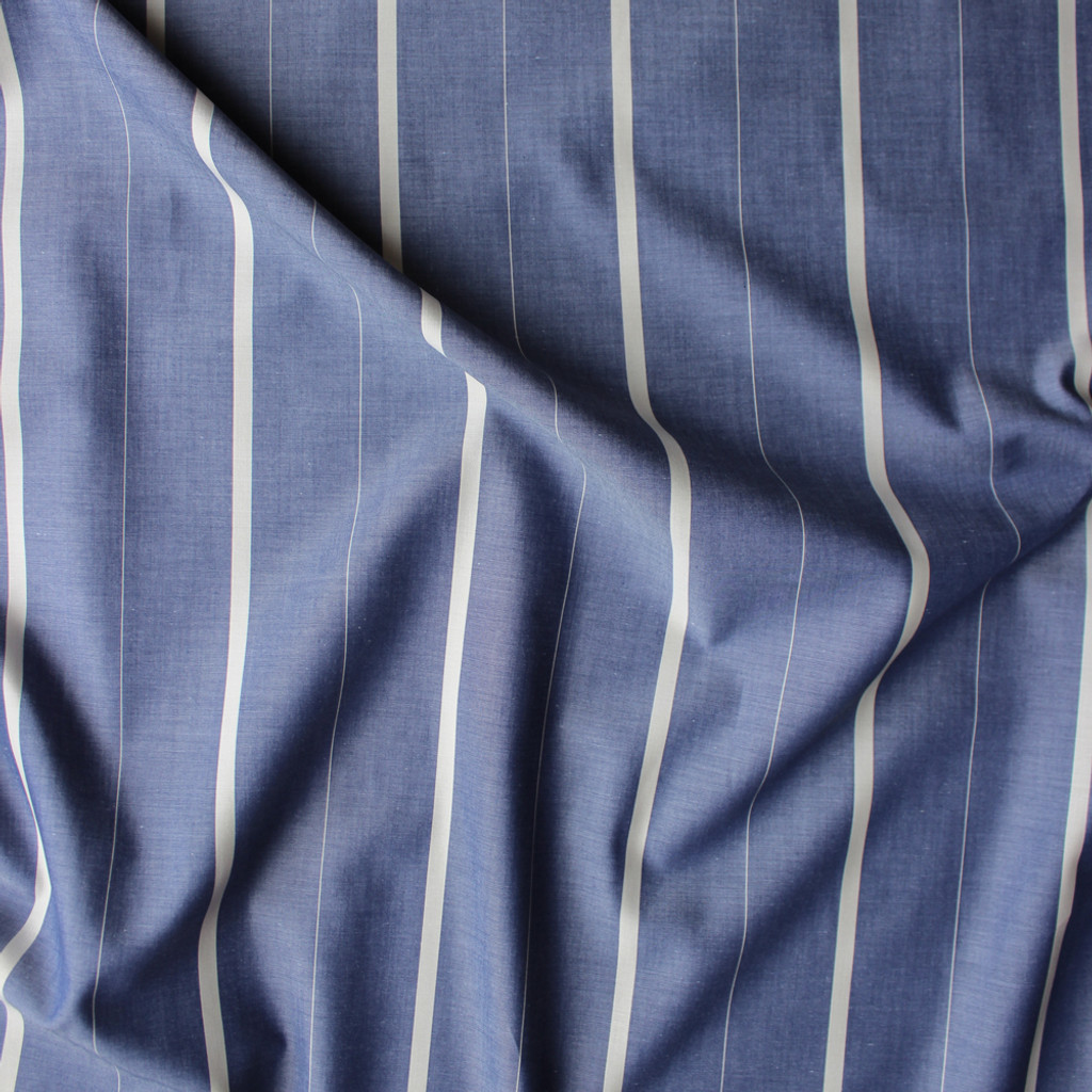 Striped Japanese Cotton Chambray Shirting - Blue/Cream   Blackbird Fabrics