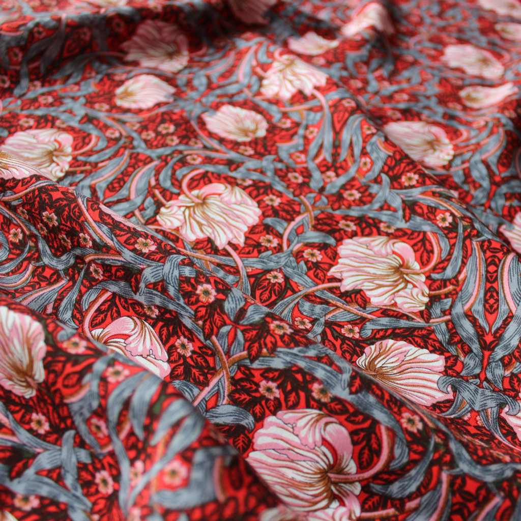 Tapestry Floral Viscose Poplin - Red/Blush | Blackbird Fabrics