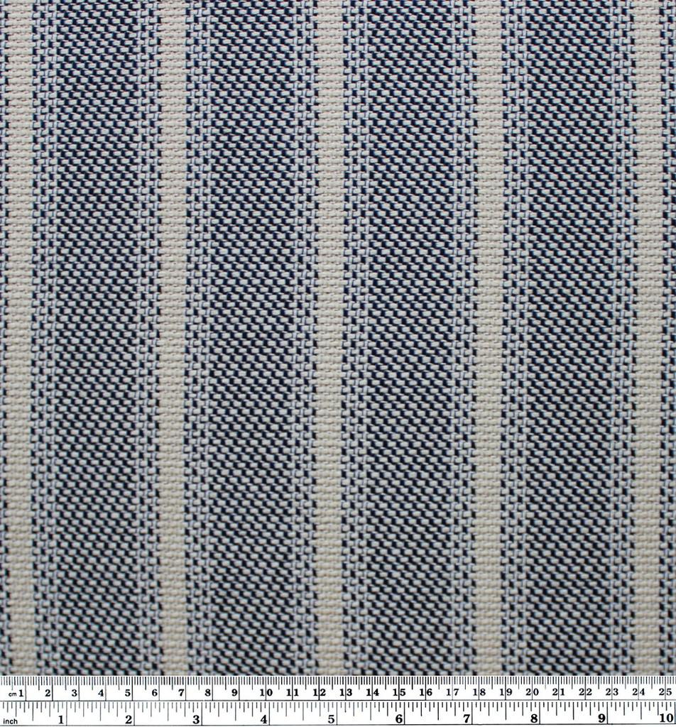 Striped Cotton Tweed - Natural/Black/Blue | Blackbird Fabrics