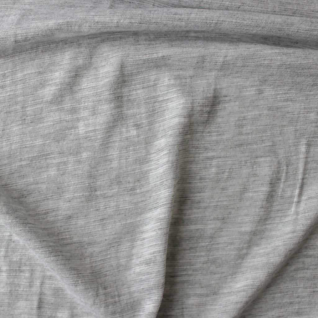 Slubby Organic Cotton & Bamboo Knit - Light Heathered Grey | Blackbird Fabrics