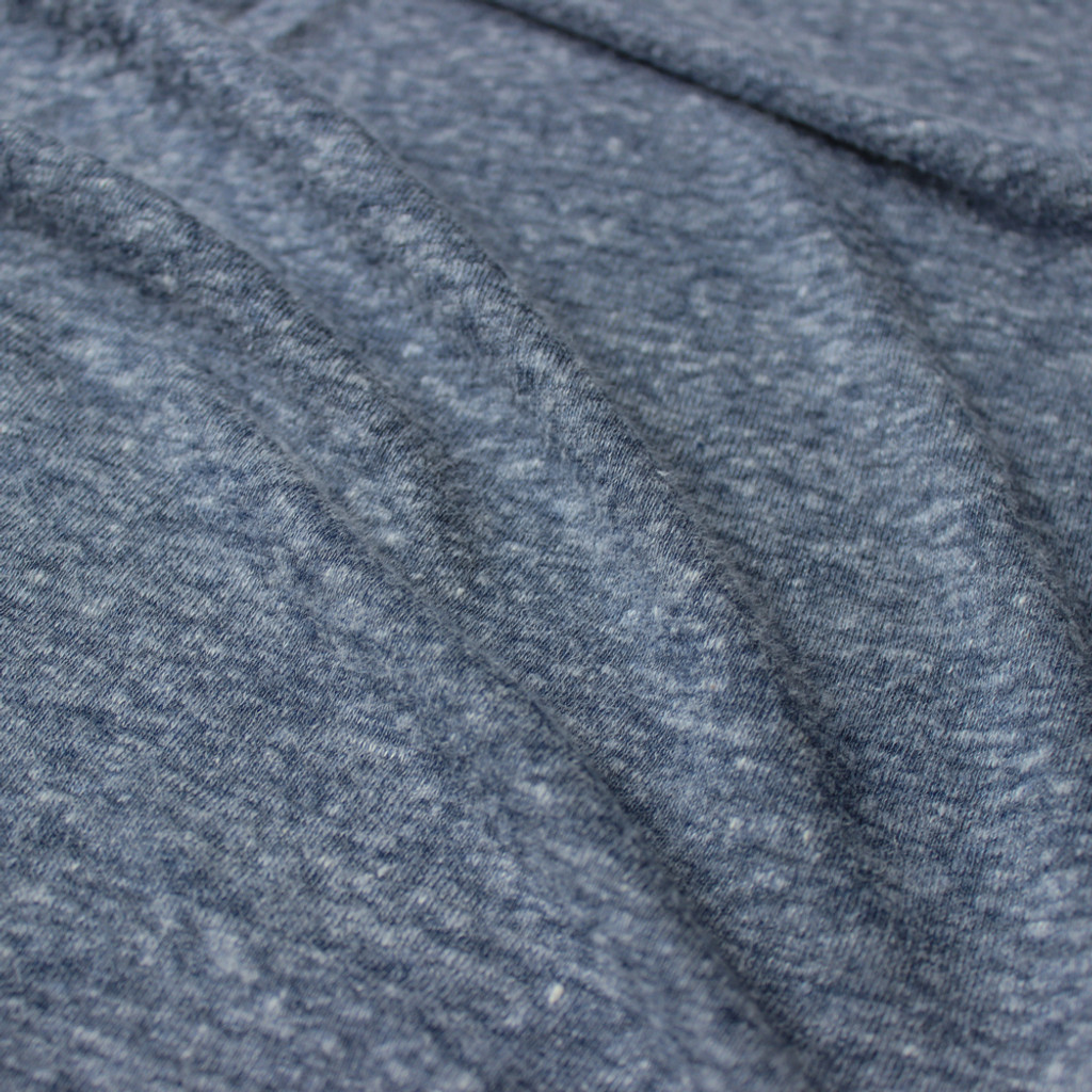 Linen & Poly Knit - Heathered Blue | Blackbird Fabrics