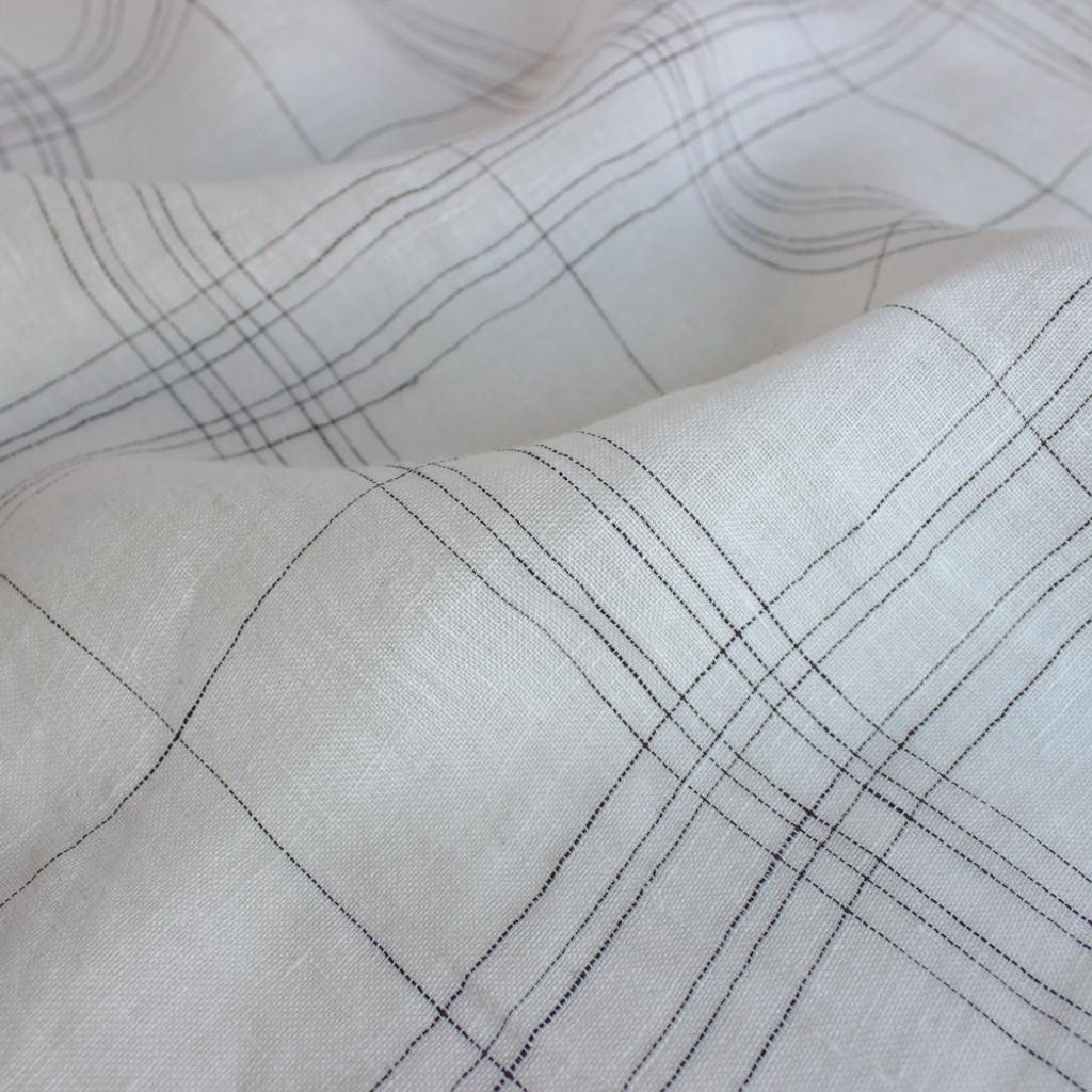 Linen Voile Check - White/Black | Blackbird Fabrics
