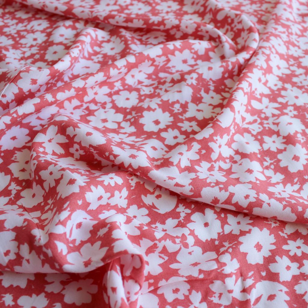 Floral Rayon Challis - Coral/White | Blackbird Fabrics